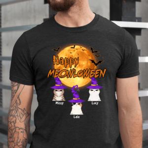 Personalized Happy Meowloween Bat Moon Custom Cat Men Shirt