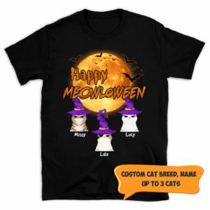 Personalized Happy Meowloween Bat Moon Custom Cat Shirt