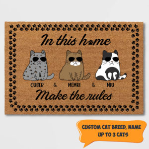 Personalized In This Home Cats Make The Rules Custom Cat Doormat
