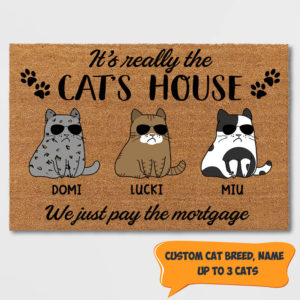 Personalized It's The Cat House We Just Pay The Mortgage Custom Cat Doormat