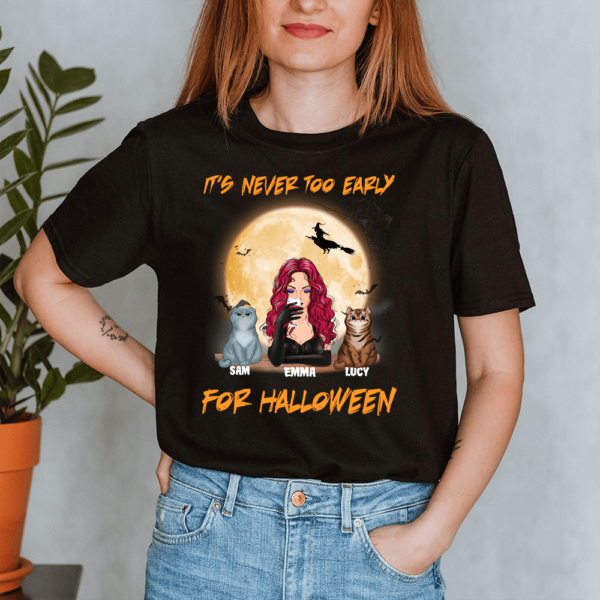 Personalized It's Never Too Early For Halloween Custom Cat Lady Shirt