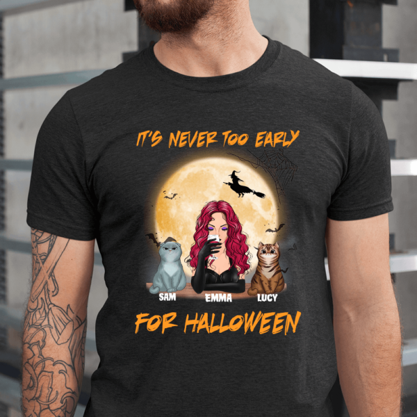 Personalized It's Never Too Early For Halloween Custom Cat Men Shirt