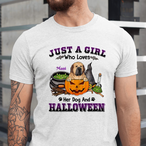 Personalized Just A Girl Who Loves Her Dog And Halloween Custom Halloween Shirt1