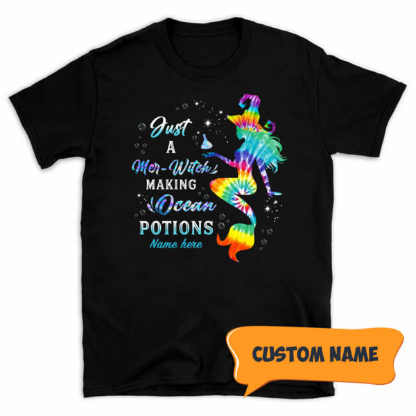 Personalized Just A Mer Witch Making Ocean Potions Custom Halloween Shirt