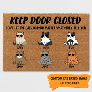 Personalized Keep Door Closed Don't Let The Cats Out Personalized Custom Cat Doormat