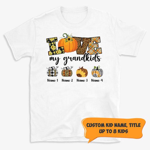Personalized Love My Grandkids Custom Pumpkin Halloween Shirt