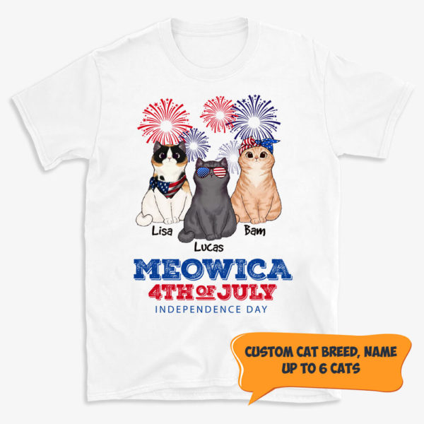 Personalized Meowica Happy 4th Of July Custom Cat Shirt 1
