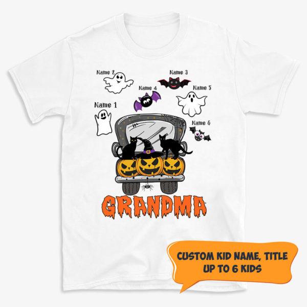 Personalized Mom Grandma Fall Halloween Car Pumpkin Custom Name Shirt