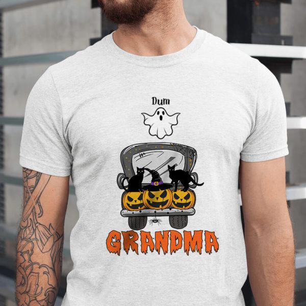 Personalized Mom Grandma Fall Halloween Car Pumpkin Custom Name Shirt1