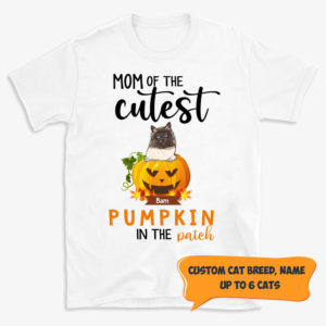 Personalized Mom of The Cutest Pumpkin In The Patch Custom Cat Halloween Shirt