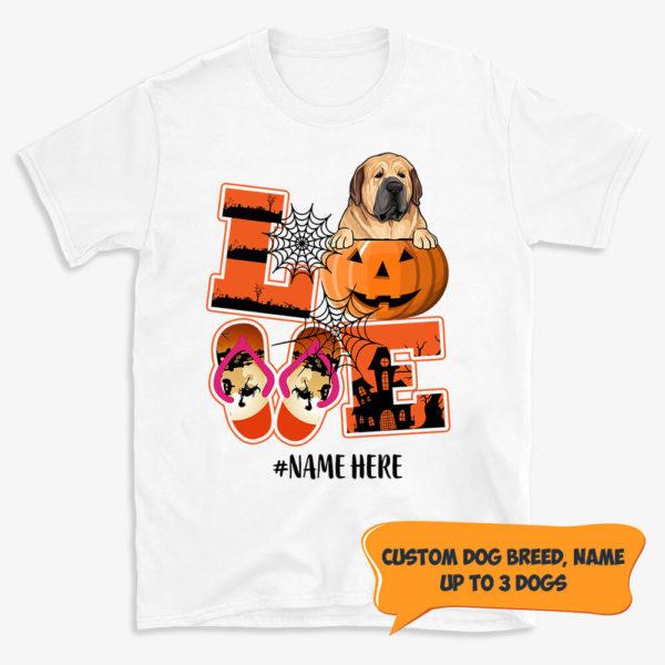 Personalized Name Love Halloween Pumpkin Custom Dog Shirt