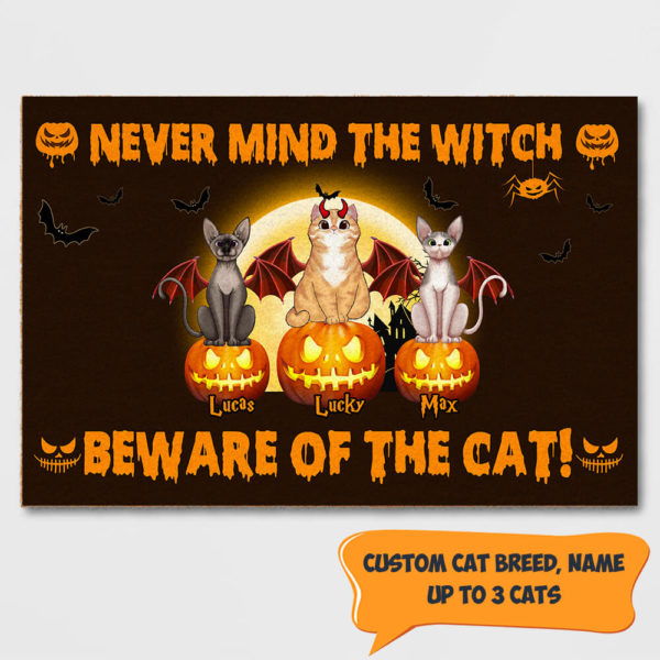 Personalized Never Mind The Witch Beware Of The Cat Custom Cat Doormat