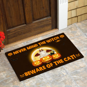 Personalized Never Mind The Witch Beware Of The Cat Custom Cat Doormat1