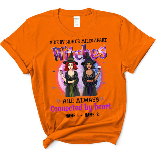 Personalized Side By Side Or Miles Apart Witches Are Always Connected By Heart Custom Halloween Shirt3