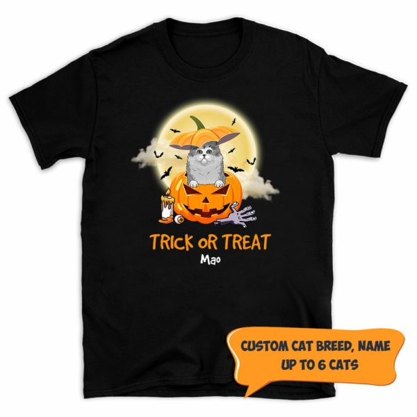 Personalized Trick Or Treat Halloween Custom Cat Shirt