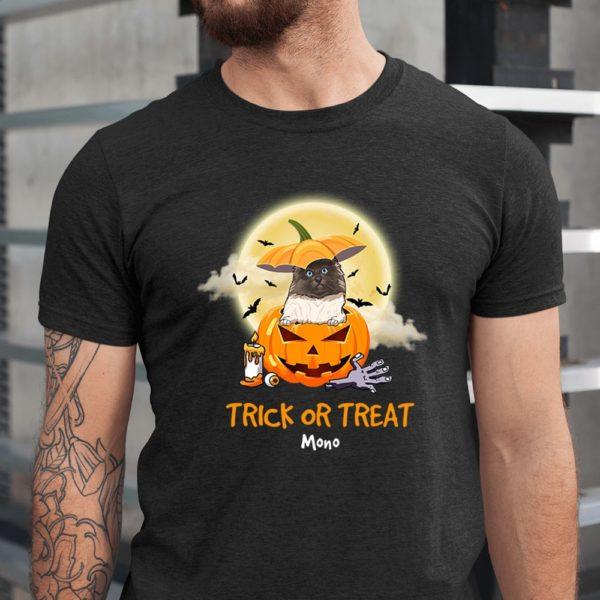 Personalized Trick Or Treat Halloween Custom Cat Shirt1