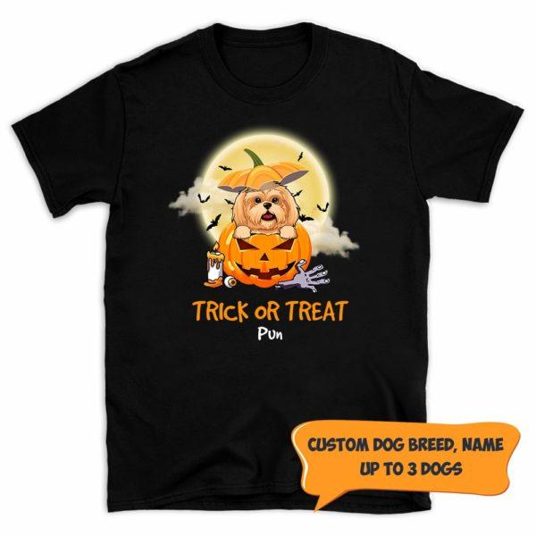 Personalized Trick Or Treat Halloween Custom Dog Shirt