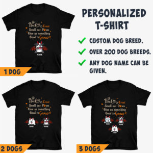 Personalized Trick Or Treat Smell My Paws Give Me Something Good To Gnaw Custom Dog Halloween Shirt3