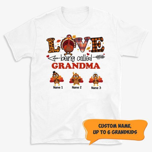Personalized Turkey Fall Halloween Love Being Called Mom Grandma Custom Shirt
