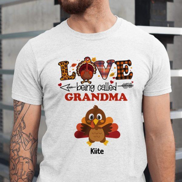 Personalized Turkey Fall Halloween Love Being Called Mom Grandma Custom Shirt1