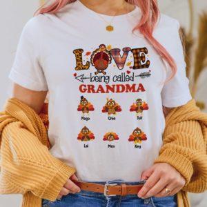 Personalized Turkey Fall Halloween Love Being Called Mom Grandma Custom Shirt2