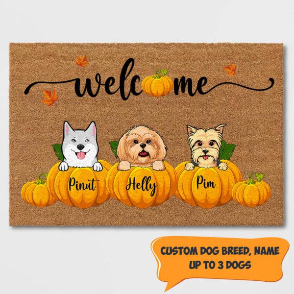 Personalized Welcome Happy Fall Season Halloween Custom Dog Doormat