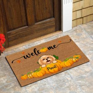 Personalized Welcome Happy Fall Season Halloween Custom Dog Doormat1