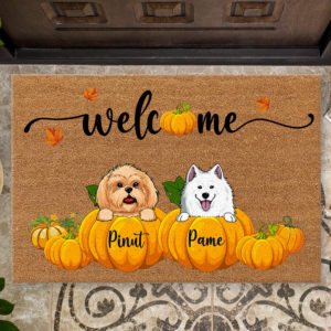 Personalized Welcome Happy Fall Season Halloween Custom Dog Doormat2
