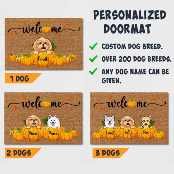 Personalized Welcome Happy Fall Season Halloween Custom Dog Doormat3