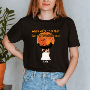Personalized When We're Together Every Night Is Halloween Custom Cat Lady Shirt