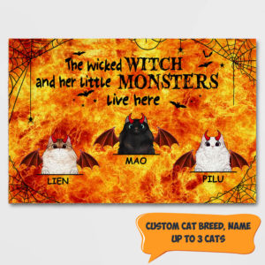Personalized Wicked Witch And Her Little Monster Live Here Custom Cat Halloween Doormat