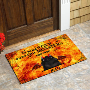 Personalized Wicked Witch And Her Little Monster Live Here Custom Cat Halloween Doormat1
