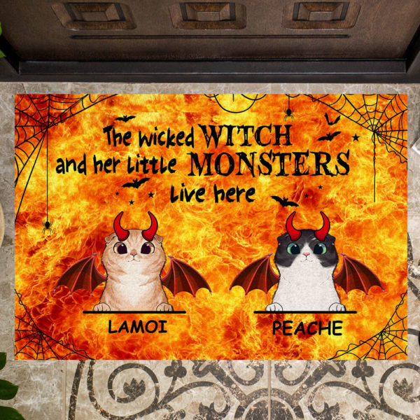 Personalized Wicked Witch And Her Little Monster Live Here Custom Cat Halloween Doormat2
