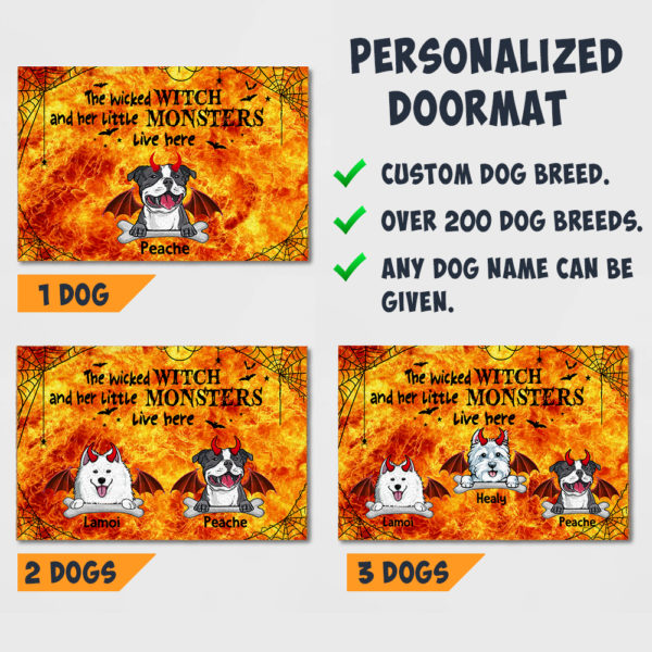 Personalized Wicked Witch And Little Monster Custom Dog Halloween Doormat