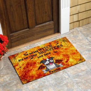 Personalized Wicked Witch And Little Monster Custom Dog Halloween Doormat1