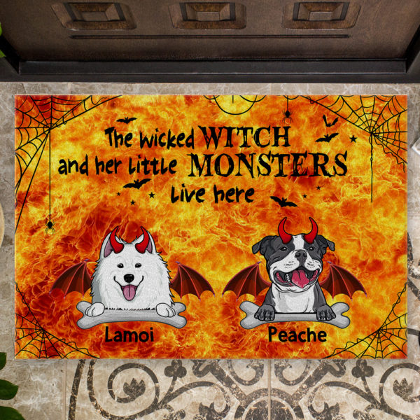 Personalized Wicked Witch And Little Monster Custom Dog Halloween Doormat2