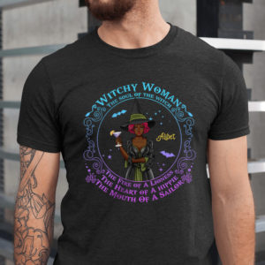 Personalized Witch Fall Halloween Soul of a Witch Fire of A Lioness Heart of A Hippie Mouth Of A Sailor Custom Shirt